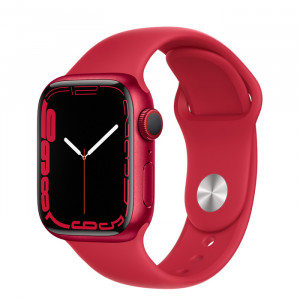 Apple Watch Series 7 GPS 41mm Red Aluminium Case with Sport Band Red